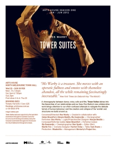 Arts House season 1 2012 - Ros Warby Tower Suites - EFLYER